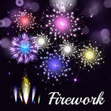 Colorful fireworks on black background. Night sky with stars and. Salute for festival in vector. Blue, green, yellow and red fireworks and explosion Stock Photo