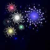 Colorful fireworks on black background. Night sky with stars and. Salute for festival in vector. Blue, green, yellow and red fireworks and explosion Royalty Free Stock Image