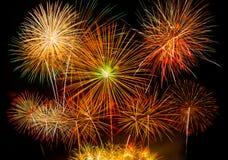 Colorful fireworks on black background. Colorful fireworks use for background Royalty Free Stock Photo