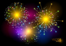 Colorful fireworks on black background. Vector illustration. Colorful fireworks on black background. Vector illustration Royalty Free Stock Photo