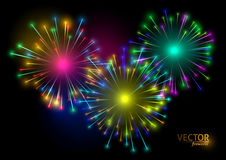 Colorful fireworks on black background. Vector illustration.  Royalty Free Stock Images