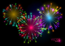 Colorful fireworks on black background. Vector illustration.  Stock Image