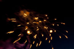 Colorful fireworks on the black night sky. stock photography