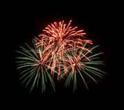 Colorful fireworks in the black sky Stock Images