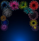 Colorful fireworks on blue background. Colorful fireworks  on blue background for celebration Royalty Free Stock Images