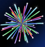 Colorful fireworks on blue background. Illustration of colorful festive fireworks Royalty Free Stock Photography