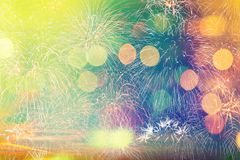 Colorful fireworks with bokeh light blurred for abstract holiday. Background Royalty Free Stock Photography