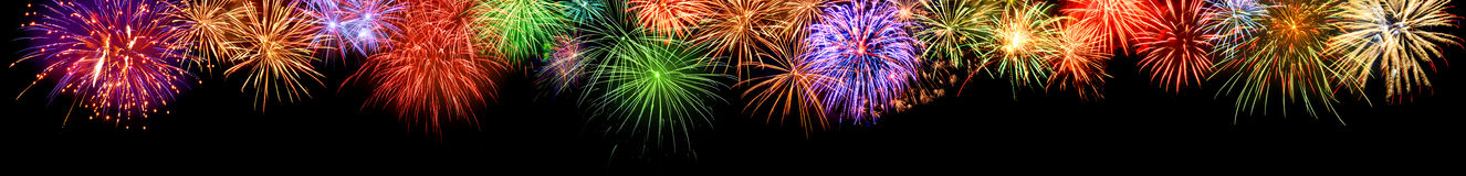 Colorful fireworks border, extra wide format Royalty Free Stock Photo