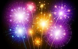 Colorful fireworks. Bright colorful fireworks against the dark sky. Vector illustration Stock Photo