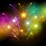 Colorful fireworks. Bright colorful fireworks against the dark sky. Vector illustration Royalty Free Stock Photography