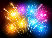 Colorful fireworks. Bright colorful fireworks against the dark sky. Vector illustration Stock Image