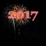 Colorful fireworks celebrating 2017 Royalty Free Stock Photo