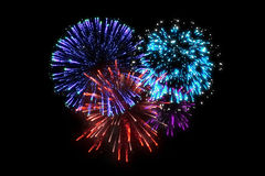 Colorful fireworks at celebration midnight. Royalty Free Stock Photo