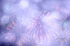 Fireworks celebration and the twilight sky background with bokeh Royalty Free Stock Photos