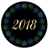 2018 in colorful fireworks frame frame. 2018 in colorful fireworks circle frame frame vector graphic on black Stock Photography