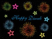 Colorful fireworks concept wallpaper for deepawali. Colorful fireworks, star theme background for deepawali celebration royalty free illustration