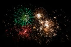 Colorful fireworks display. Colorful fireworks with copy space, native space, black background Stock Photography