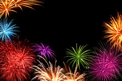 Colorful fireworks with copyspace Stock Image