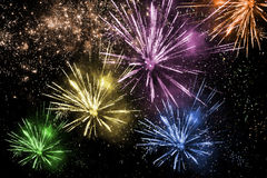 Colorful fireworks. On dark background Stock Photography
