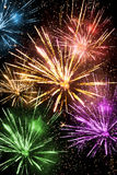 Colorful fireworks. On dark background Royalty Free Stock Images