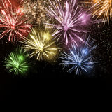 Colorful fireworks. On dark background Stock Images