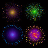 Colorful Fireworks on Dark Background. Bright fireworks on dark background for celebrate event or party usage Stock Image