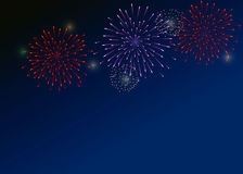 Colorful Fireworks on the dark-blue background Stock Photography