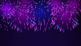 Colorful fireworks on a dark blue background. Bright fireworks in the night sky with stars. Festive sky for bright design