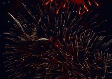 Colorful fireworks on dark night sky background. Holiday light. Colorful fireworks on dark night sky background. Holiday light Royalty Free Stock Images