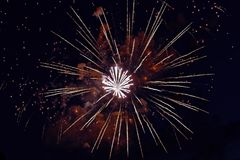 Colorful fireworks on dark night sky background. Holiday light. Colorful fireworks on dark night sky background. Holiday light Stock Image