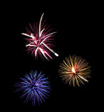 Colorful Fireworks. On dark sky Stock Images
