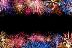 Colorful Fireworks Display Border Stock Photography
