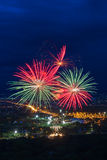 Colorful fireworks display at Chiangmai Royalty Free Stock Photos