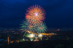 Colorful fireworks display at Chiangmai Royalty Free Stock Photography