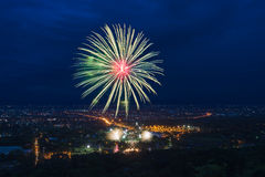 Colorful fireworks display at Chiangmai Stock Photo