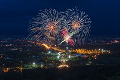 Colorful fireworks display at Chiangmai Stock Photos