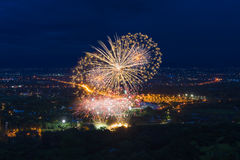 Colorful fireworks display at Chiangmai Stock Images