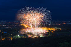 Colorful fireworks display at Chiangmai Royalty Free Stock Images