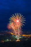 Colorful fireworks display at Chiangmai Royalty Free Stock Image