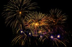 Colorful fireworks display. Colorful fireworks with copy space, native space, black background Stock Photos