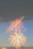 Colorful fireworks display on dusk sky background Stock Photos