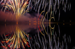 Colorful fireworks display at night Royalty Free Stock Photos