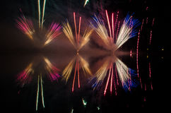 Colorful fireworks display at night Royalty Free Stock Photography