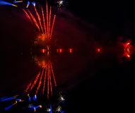 Colorful fireworks display at night Stock Images