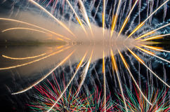 Colorful fireworks display at night Royalty Free Stock Photo
