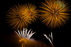 Colorful fireworks display at night Stock Photo