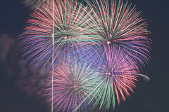 Colorful fireworks display on night sky background. Colorful fireworks display on dark night sky background in horizontal frame Royalty Free Stock Image
