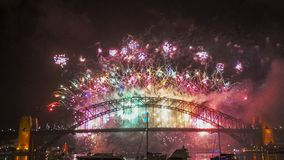 Colorful fireworks display for the sydney new years eve. Colorful fireworks display for sydney new years eve 2014 stock photos