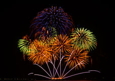 Colorful fireworks display. Fireworks display at the 5th Philippine International Pyromusical Competition in Pasay City, Philippines Royalty Free Stock Photo