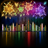 Colorful fireworks exploding in night sky over downtown city with reflection in water. Abstract illustration of colorful fireworks exploding in night sky over Royalty Free Stock Photo
